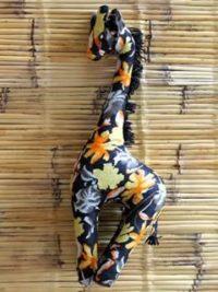 GiraffeBlackYellowOrangeFlowers-409