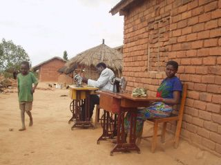 Workers sewing bags in Kamweko