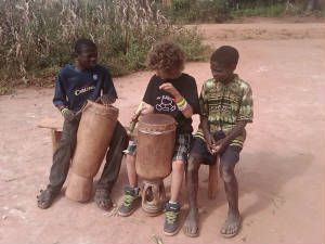 Timothy, Riley, & Marumbo jammin out Malawi style!