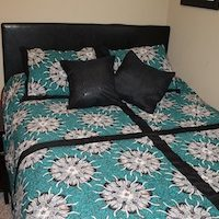 Queen Duvet Set Turquoise Flowers